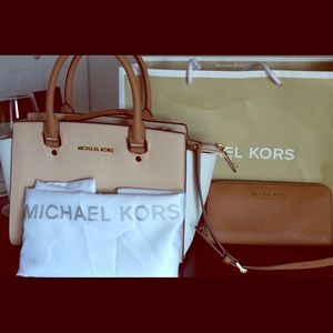 MK Tri Color Bag & Wallet - Camel/Cream/White